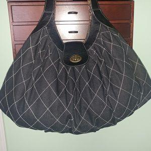 Handbags - LARGE BLACK JEAN DIAMOND STITCHED HOBO HANDBAG